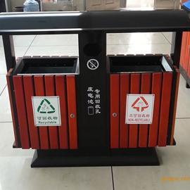 北京厂家直销户外钢木废物桶 市政动物园样式塑木条废物桶