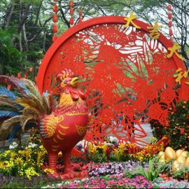 供应32017鸡年玻璃钢大公鸡卡通鸡雕塑 商场春节景观摆件