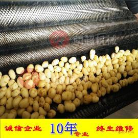 诸城明超 不锈钢毛辊清洗去皮机 土豆高效去皮设备厂家