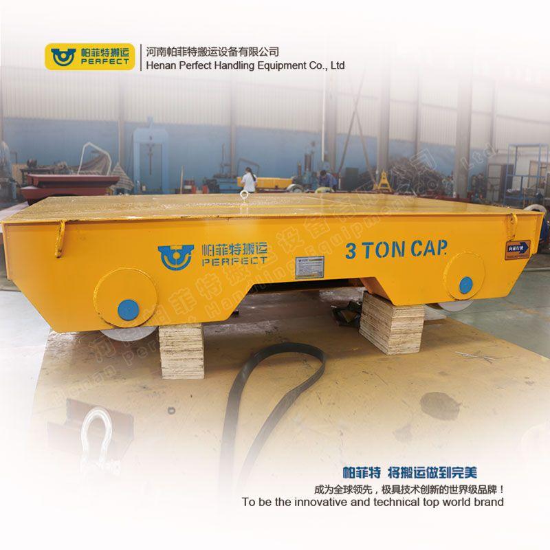 山东轨道电动平板车钢结构工装搬运电瓶供电直线道轨平车