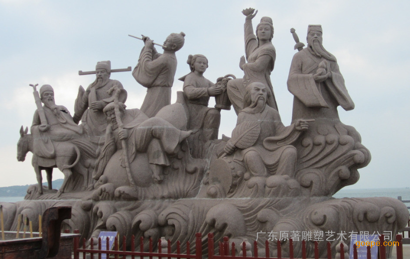 厂家供应石雕八仙过海雕塑广场景观摆件 广东原著雕塑
