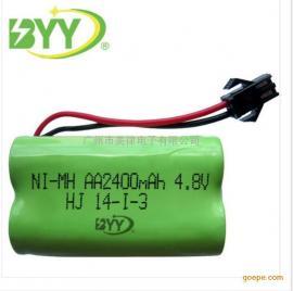 供应足容镍氢AA电池2400mah4.8V充电电池组 玩具5号充电电池组