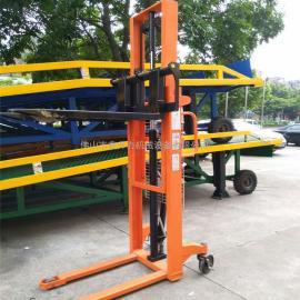 1000kg升高2.5米 双门架手动液压堆高车 扦脚式升高叉车