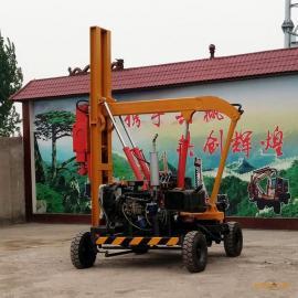野外公路护栏打桩 公路护栏钻孔机 小四轮液压打桩机