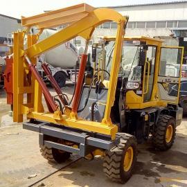 装载机式护栏打桩机 铲车改装高速公路护栏钻孔机
