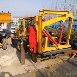 道路安全防撞护栏打桩机 铲车式护栏打桩拔桩一体机
