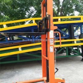 双门架手动液压升降叉车 装卸车货物升高手推车