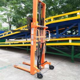 载重1吨升高2.5米双门架手动液压升降叉车 装卸车