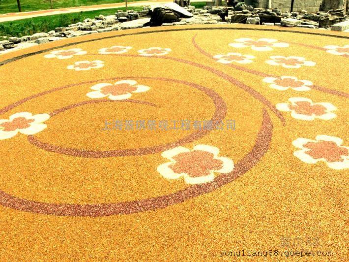 彩色混凝土景观道路☆现浇一体成型�I彩色透水地坪
