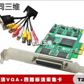 VGA+4路标清 高清音视频采集卡(同三维T200AE)