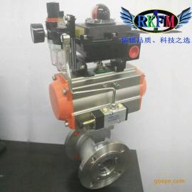 FQ641F-10P型气动法兰放料球阀-RKFM品牌