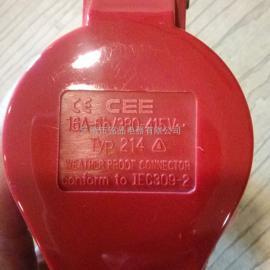 工业插头插座3P+E 16A-6h 380V检修电源箱插座 防水 防腐防爆插头