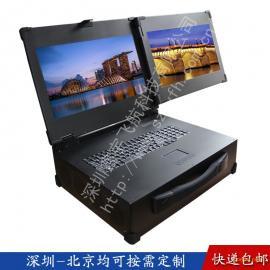 19寸双屏工业便携机机箱定制军工电脑外壳铝加固笔记本一体机