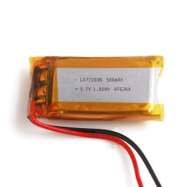 车载型耐高温聚合物锂电池772036 3.7V 500mAh