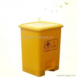 医院科室塑料脚踏垃圾桶黄色