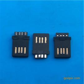 正反插USB A公全塑焊线4P公头2.0双面插黑胶 金手指