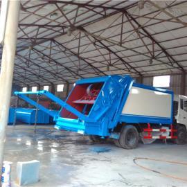 5吨后挂桶压缩式垃圾车_ 压缩带摆臂式垃圾车