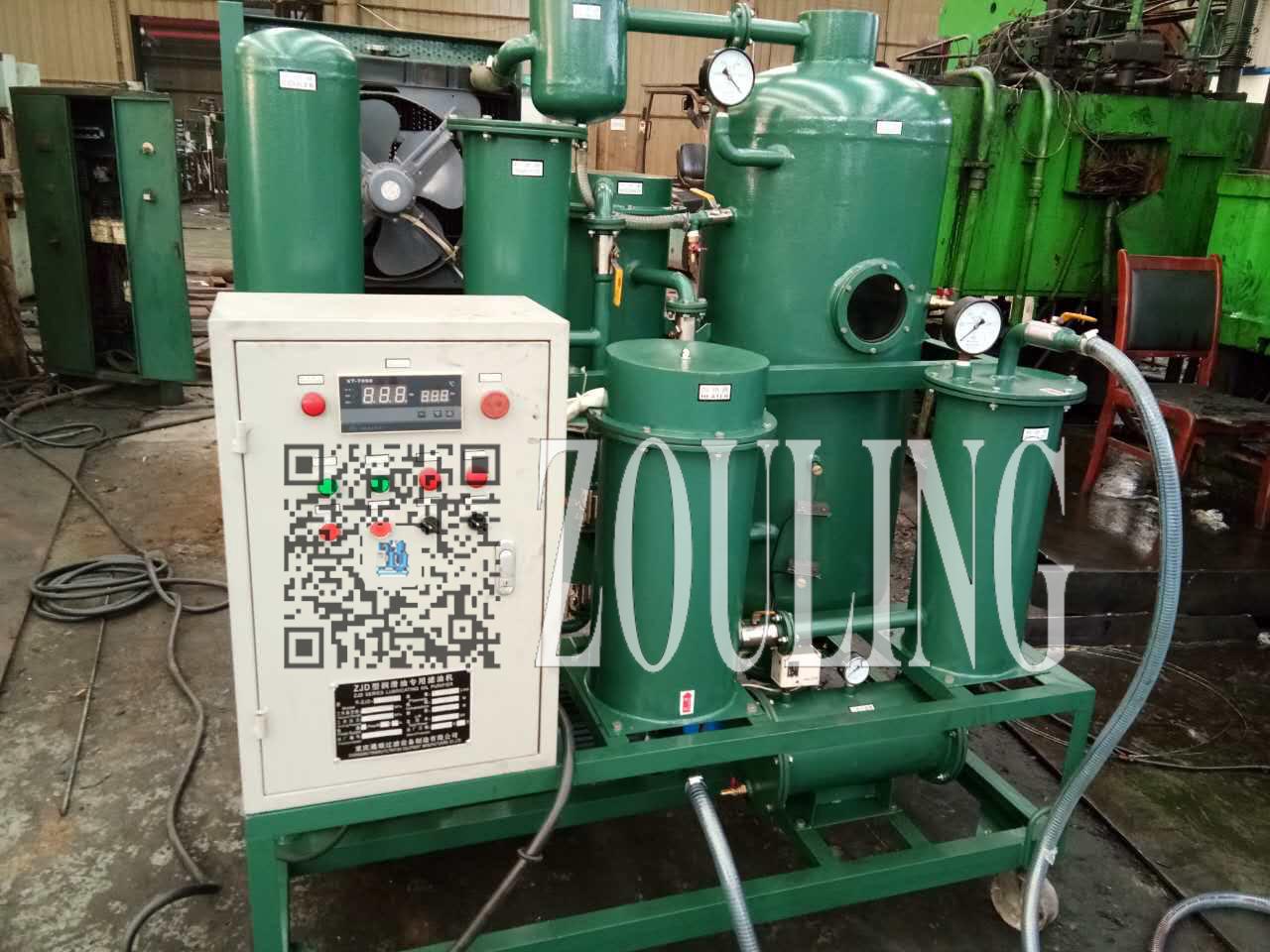 临清市东盛食品公司ZJD-20Z液压油除水真空滤油机使用现场