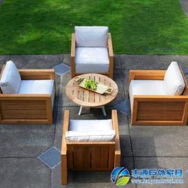 东莞市户外休闲桌椅组合实木连体图片