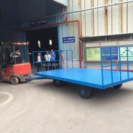 电子厂叉车专用行李平板车 佛山散装物流平板拖车