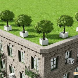 宁波众达公司专业屋顶绿化厂家,屋顶花箱屋顶植物
