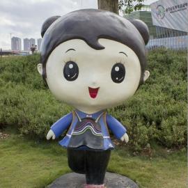 定做小品玻璃钢少数民族卡通形象人物雕塑瑶族女孩卡通造型雕像