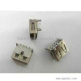 USB母座90度插板反向/三个固定脚+4P定义脚