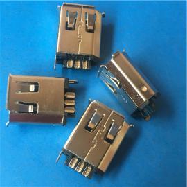 6P 1394母座焊线式180度 铜壳三四卷边1394插座