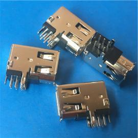 侧插1394 母座6P 90度插板 侧立式卷边DIP 接口