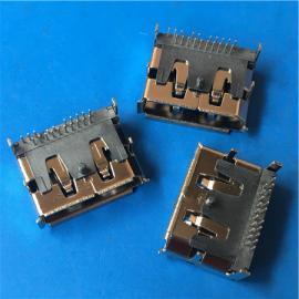 DP接口20P DP母座90度插板 四脚DIP有柱卷边铜壳