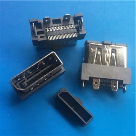 贴板DP 20P母座立式贴片180度DP接口SMT插板四脚