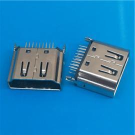 HDMI插板式母座19P A型鱼叉式180度直插DIP立式