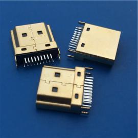 夹板HDMI公头19P夹板1.0 1.2 1.6镀金 铜壳