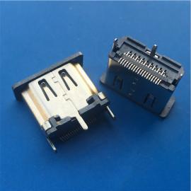 立式贴片HDMI 19P母座15.0mm贴板180度SMT
