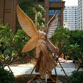 长沙雕塑厂家供应玻璃钢仿铜天使雕塑西方人物雕塑制作花园摆件