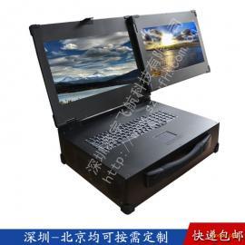 19寸双屏工业便携机工控一体定制军工电脑加固笔记本视频采集