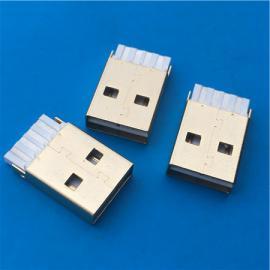 正反插A公镀金 焊线式USB白胶 公头双面插180度 双向
