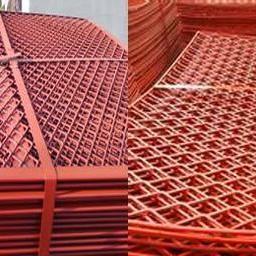 潮州包边菱形钢笆片建筑高空踩踏板-脚手架喷漆网片