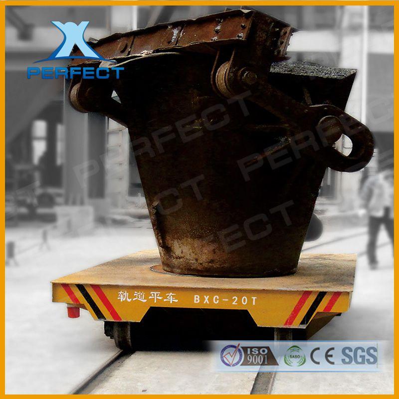 50吨30T重型钢包车炼钢厂转运水包转炉搬运车 轨道蓄电池平板车