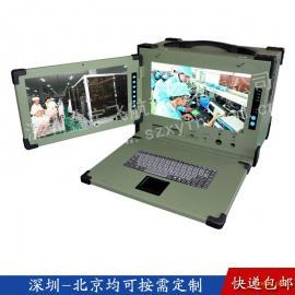 15寸下翻双屏工业便携机机箱工控军工电脑外壳加固笔记本一体