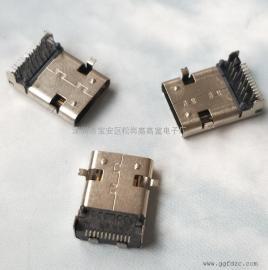 TYPE-C加长母座(三排P针~12P插12P贴)