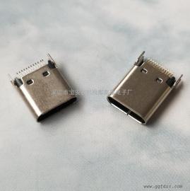 TYPE-C沉板母座~单排16P贴片~四脚插件