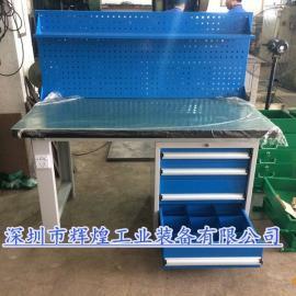 重型复合工作台装配检验台2工位操作台虎钳工作桌工厂钢板桌