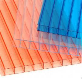 8mm双层四层多层阳光板配件透明采光板湖蓝耐力板阻燃温度