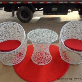 欧式新款桌椅组合 花园休闲家具 小藤椅 三件套编藤桌椅
