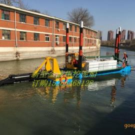 小型液压挖泥船四根固定桩工作不抛锚