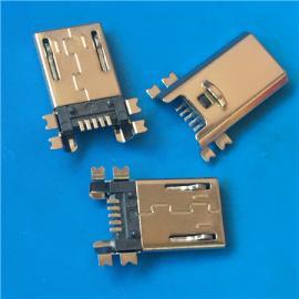 超薄四脚MICRO 5P公头贴片SMT贴板式180度带卡勾