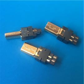 镀金MINI 8P公头焊线式 迷你USB铜壳 外壳镀金注塑