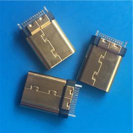 镀金3.1公头TYPE-C夹板 铆压外壳USB 24P焊板
