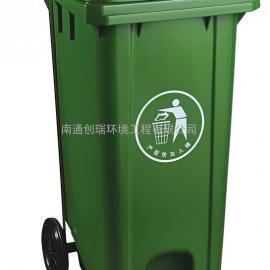 苏州240L塑料脚踩垃圾桶-苏州240升加厚挂车塑料垃圾桶